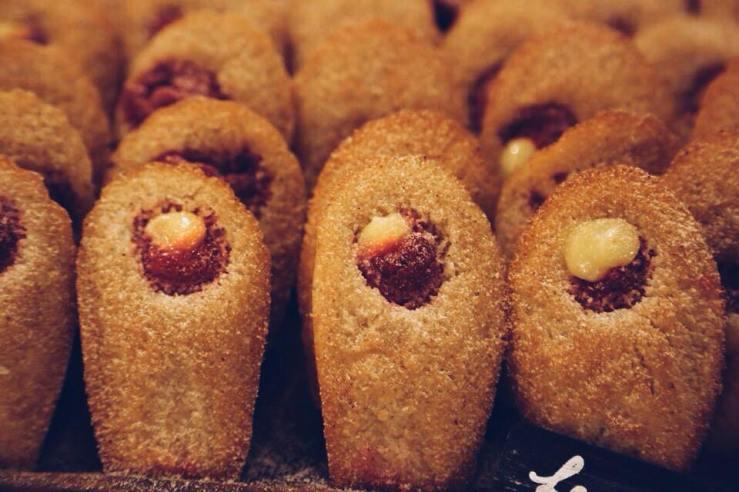 Raspberry & lemon curd madeleines